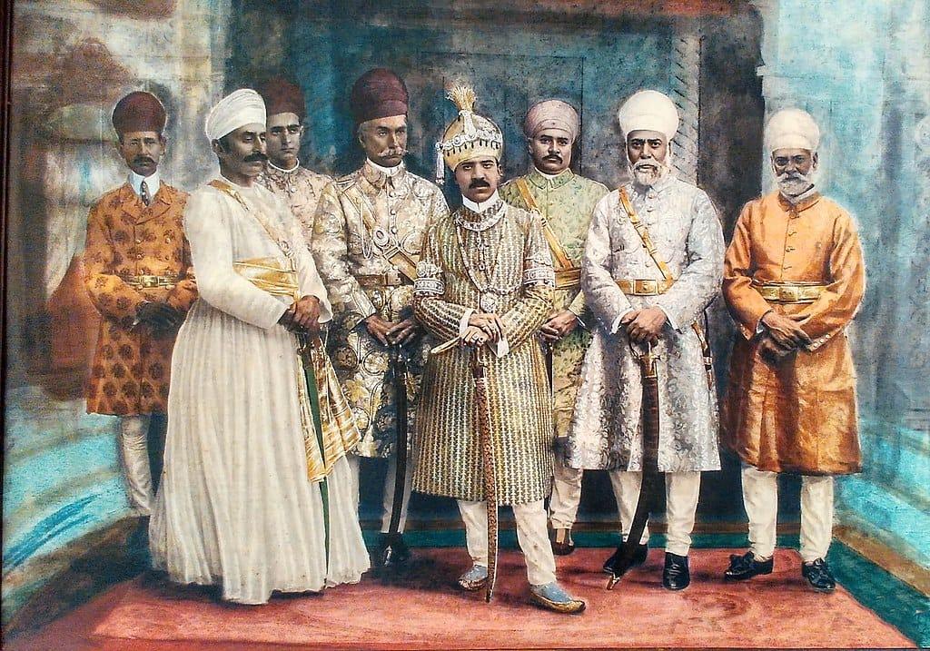 The Nizam of Hyderabad with his Court, in Sherwanis, Jama, and Achkans.